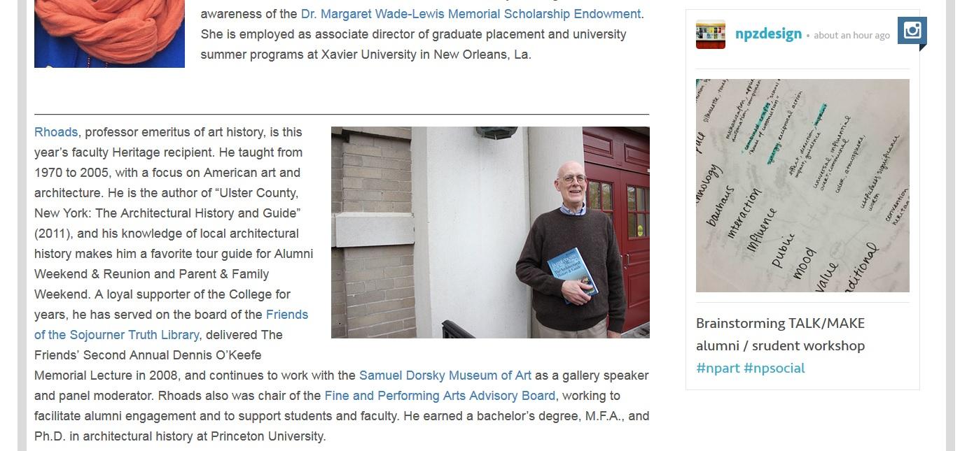 College to honor Art History Emeritus Professor William B. Rhoads