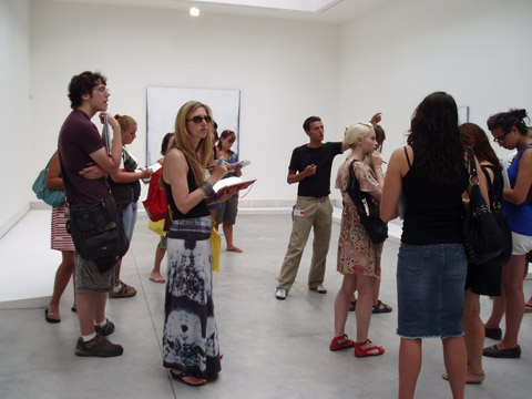 Students in the galleries at a European
